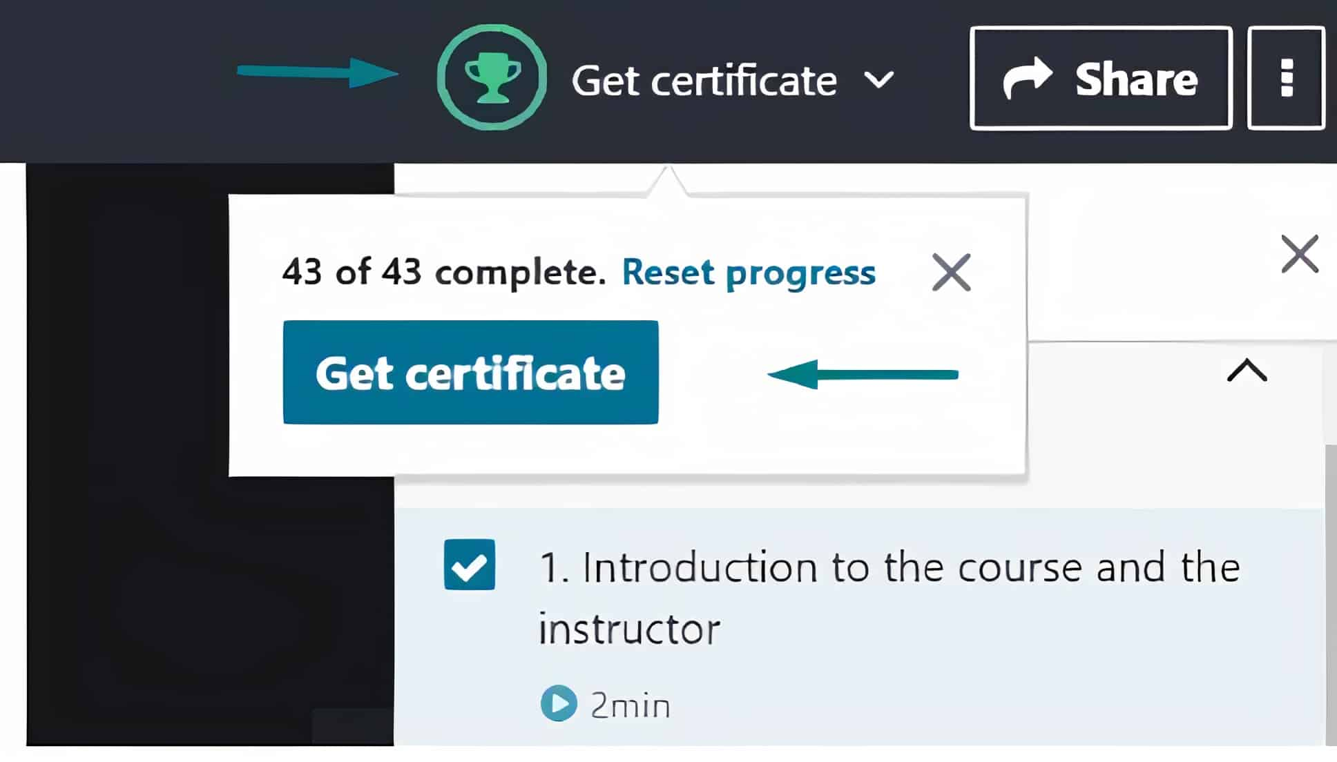 How to get a Udemy certificate?