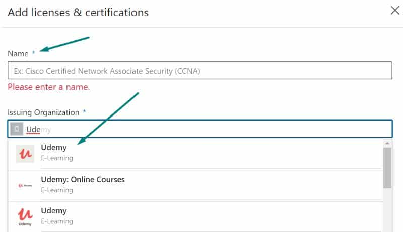 How to add Udemy certificate to Linkedin